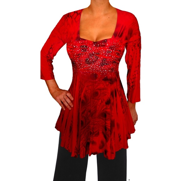 a4d673068775 Funfash Plus Size Red Top Rhinestones Empire Waist